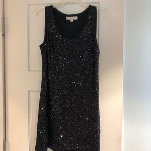 Ann Taylor Loft Black Sequined Dress